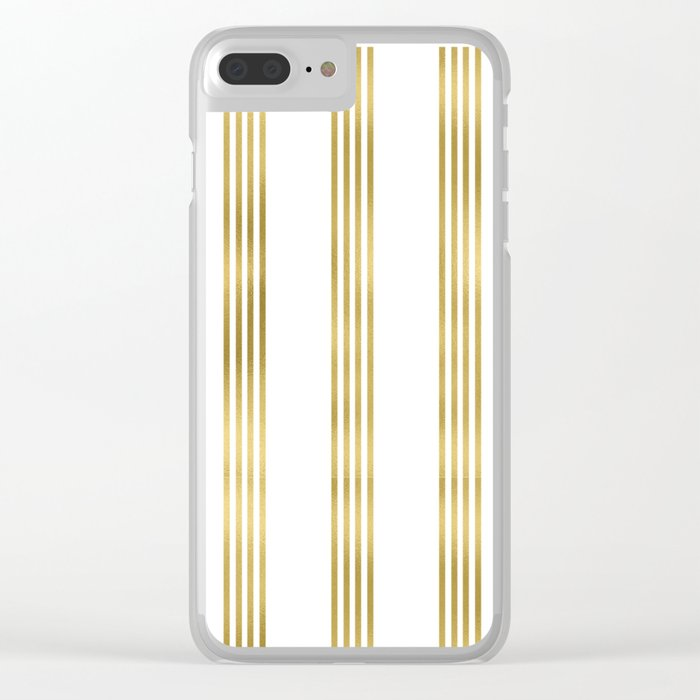 Simply luxury Gold small stripes on clear white - vertical pattern Clear iPhone Case