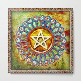 Rune Circle Pentagram Metal Print