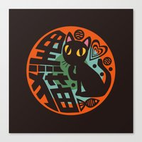 black cat Canvas Prints featuring Black Cat by BATKEI