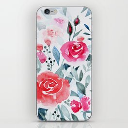 Red roses watercolor painting iPhone Skin