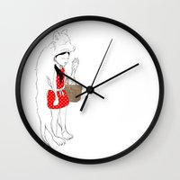 red riding hood Wall Clocks featuring LITTLE RED RIDING HOOD by auntikatar