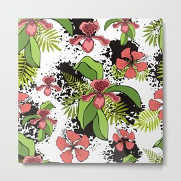 Floral theme. Tropical orchids. Metal Print