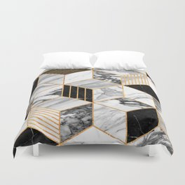 Marble Cubes 2 - Black and White Duvet Cover