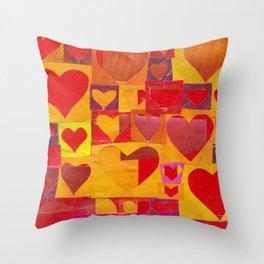 Paper Cutout Hearts Throw Pillow