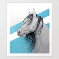 mustang Art Prints featuring Mustang by Putrizia Pine