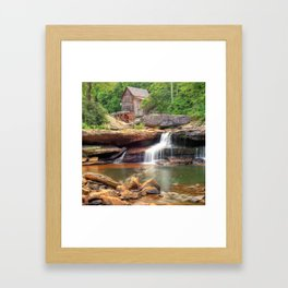 Glade Creek Grist Mill Waterfall - Square Format Framed Art Print