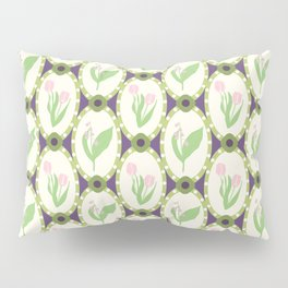 Spring Flowers Tulips and Lily of the Valley Illustrated Pattern Print Pillow Sham
