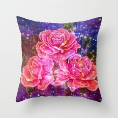 Roses with sparkles and purple infusion Throw Pillow