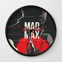 mad max Wall Clocks featuring Mad Max - fury road by FourteenLab