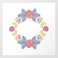 Hand Drawn Floral Wreath Design Art Print