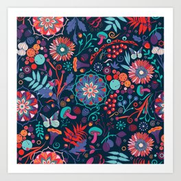 Ripe autumn – cyan and red Art Print