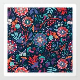 Ripe autumn – cyan and red Art Print