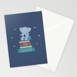 Kawaii Elephant Reading Books Stationery Cards