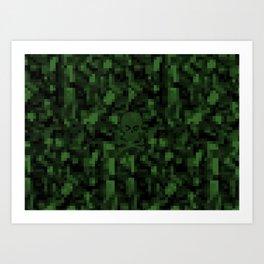 digital skull green Art Print