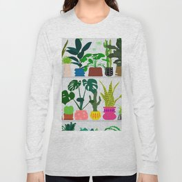 Plants on the Shelf in Gray + White Wood Long Sleeve T-shirt