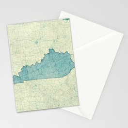 Kentucky State Map Blue Vintage Stationery Cards