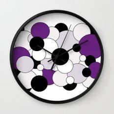 Bubbles - purple, black, gray and white Wall Clock