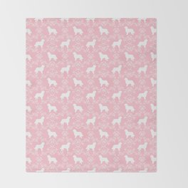 Bernese Mountain Dog florals dog pattern minimal cute gifts for dog lover silhouette pink and white Throw Blanket