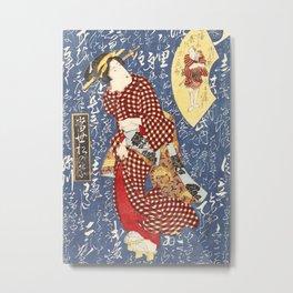 Geisha in checkered kimono Metal Print