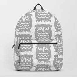 Mid Century Owl Pattern Grey Backpack