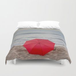 Red Umbrella lying at the beach III Duvet Cover
