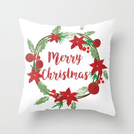 Lovely Merry Christmas Wreath Throw Pillow