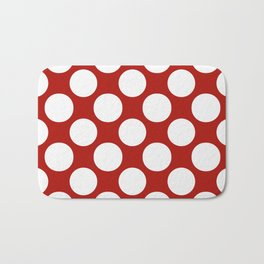 White & Red Navy Polkadot Pattern Bath Mat