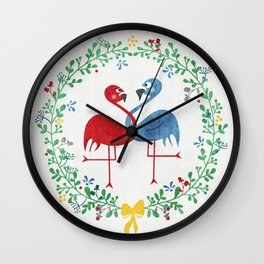 FlamingosTangled in Love Wall Clock