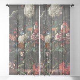 Still Life Parrot Tulips, Peonies, Hibiscus, Hydranga, Periwinkle Flowers in Vase by Jan de Heem Sheer Curtain