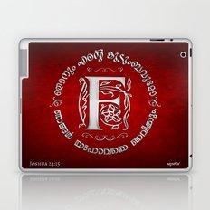 Joshua 24:15 - (Silver on Red) Monogram F Laptop & iPad Skin