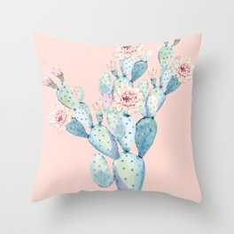 Rose Desert Cactus on Pink by Nature Magick Throw Pillow