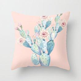 Rose Desert Cactus on Pink by Nature Magick Throw Pillow