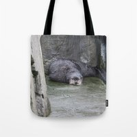 otter Tote Bags featuring Otter by RMK Photography