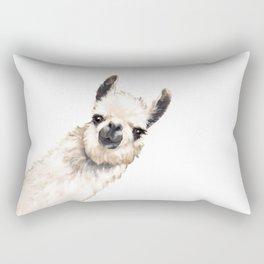 Sneaky Llama White Rectangular Pillow