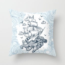 Hand drawn boat with waves background Throw Pillow