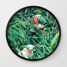 Green Kingfisher in Nature, green design Wall Clock