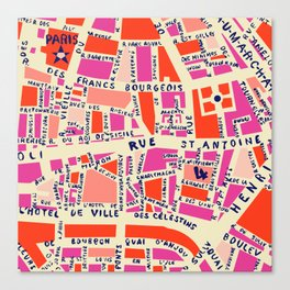 paris map pink Canvas Print