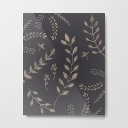 Light Sepia Leaves Pattern #1 #drawing #decor #art #society6 Metal Print