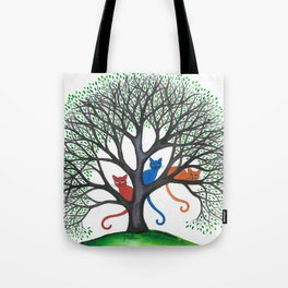 Iowa Whimsical Cats in Tree Tote Bag