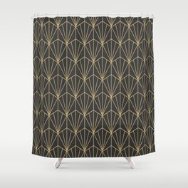 Art Deco Vector in Charcoal and Gold Shower Curtain