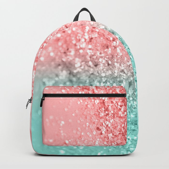 Summer Vibes Glitter #3 #coral #mint #shiny #decor #art #society6 Backpack