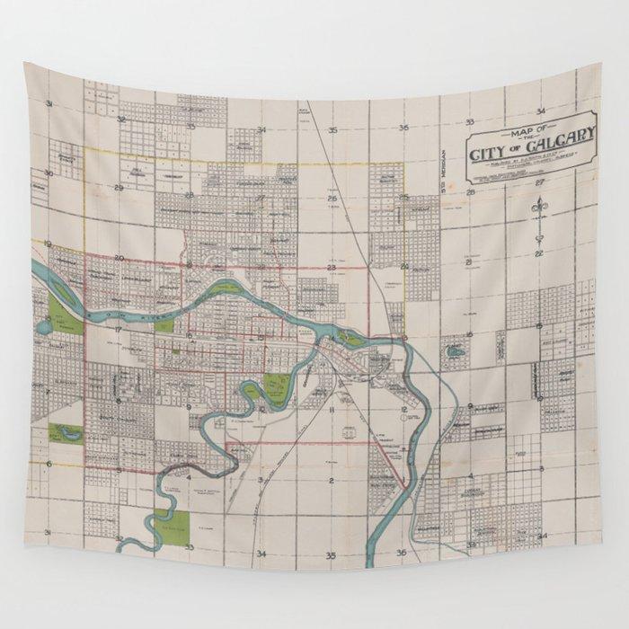 Vintage Map of Calgary Alberta Canada (1906) Wall Tapestry by bravuramedia