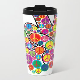 Cool Colorful Groovy Peace Sign and Symbols Metal Travel Mug