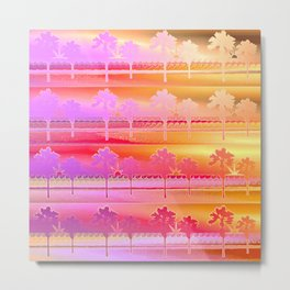 Tropical Beach Pattern (orange and magenta) Metal Print