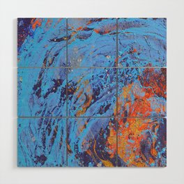American Dream Abstract Art Red Gold And Blue Wood Wall Art