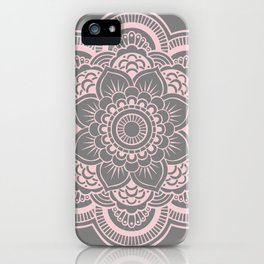 Mandala Flower Gray & Ballet Pink iPhone Case