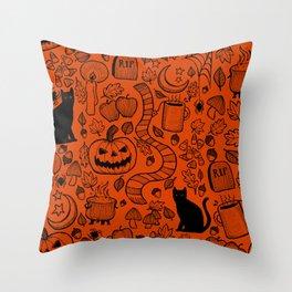 October Pattern- Black & Orange Throw Pillow