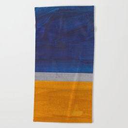 Minimalist Mid Century Rothko Color Field Navy Blue Yellow Ochre Grey Accent Square Colorblock Beach Towel