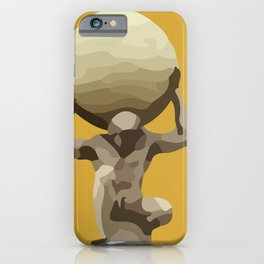 Yellow Man with Big Ball Illustration iPhone Case