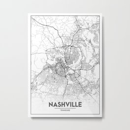 Minimal City Maps - Map Of Nashville, Tennessee, United States Metal Print